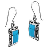Handmade Inlaid Stone Greek Key Frame Sterling Silver Dangle Earrings (Thailand)