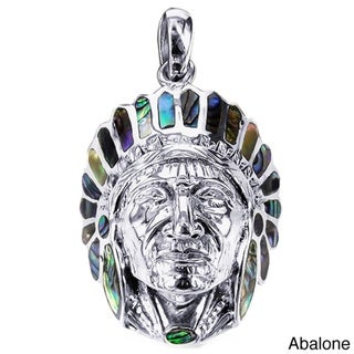 Native American Indian Chief Head Stone .925 Silver Pendant (Thailand)