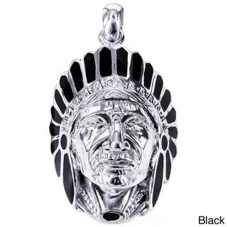 Native American Indian Chief Head Stone .925 Silver Pendant (Thailand)
