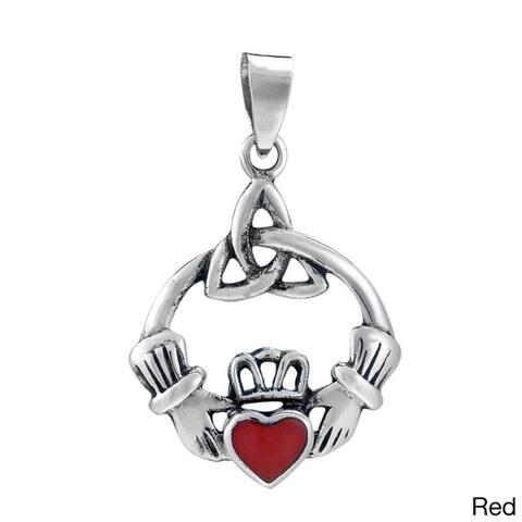 Handmade Sweet Heart Stone Celtic Claddagh .925 Silver Pendant (Thailand)