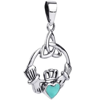Sweet Heart Stone Celtic Claddagh .925 Silver Pendant (Thailand)