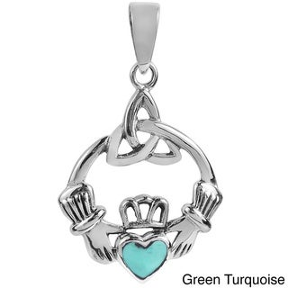 Sweet Heart Stone Celtic Claddagh .925 Silver Pendant (Thailand)