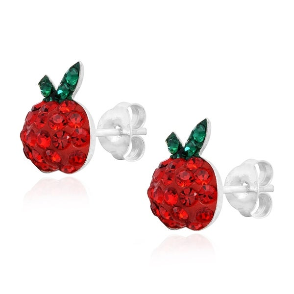 Round Cut White Cubic Zirconia Apple Fruit Stud Earrings in 14K Gold Over Sterling Silver