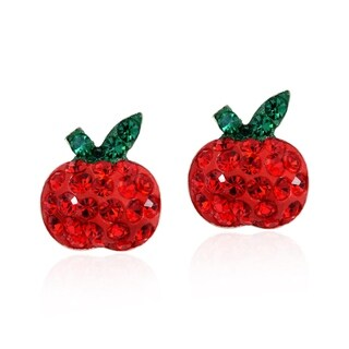 Handmade Plump Red Apple Cubic Zirconia .925 Silver Stud Earrings (Thailand)