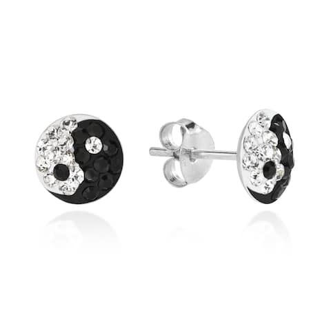 Handmade 7mm Yin Yang Balance Sparkle .925 Silver Stud Earrings (Thailand)