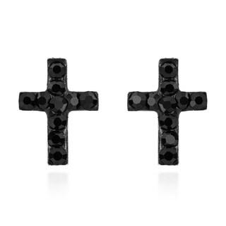 Handmade Mini Crystal Cross Sterling Silver Stud Earrings (Thailand) - Black