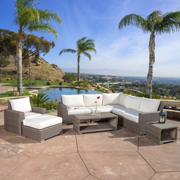 Kingsbay Outdoor 9-piece Wicker Sectional Sofa Set by Christopher Knight Home