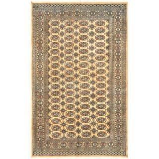 Herat Oriental Pakistani Hand-knotted Bokhara Tan/ Ivory Wool Rug (4'11 x 7'10)