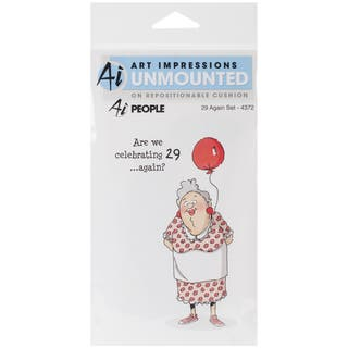 "Art Impressions People Cling Rubber Stamp 7""X4""-29 Again