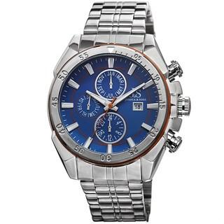 Joshua & Sons Men's Swiss Quartz Multifunction Stainless Steel Orange Bracelet Watch