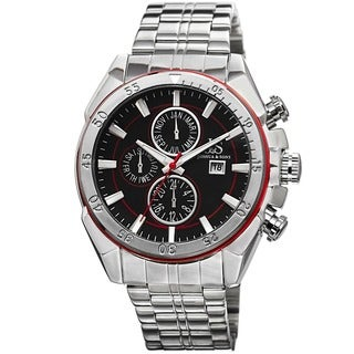 Joshua & Sons Men's Swiss Quartz Multifunction Stainless Steel Red Bracelet Watch with FREE GIFT
