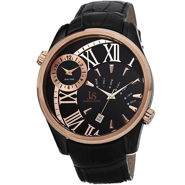 Joshua & Sons Men's Dual Time Leather Black Strap Watch