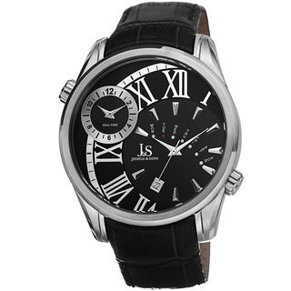 Joshua & Sons Men's Dual Time Leather Silver-Tone Strap Watch
