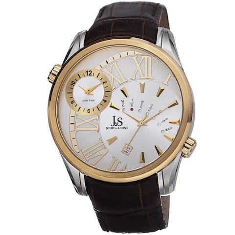 Joshua & Sons Men's Dual Time Leather Gold-Tone Strap Watch