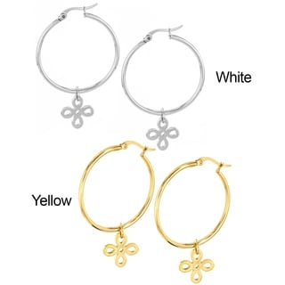 ELYA Stainless Steel Signature Logo Hoop Earrings