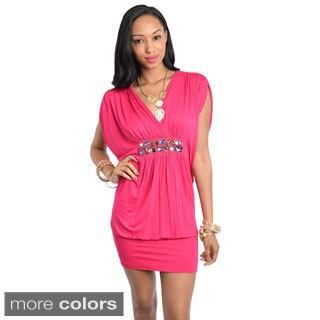 Stanzino Women's V-neck Batwing Sleeve Mini Dress