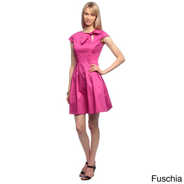 Amelia Women's Cap-sleeve Front Bow Fit and Flair Cotton Satin Dress