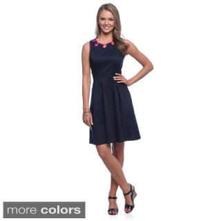 Amelia Women's Fit and Flair Sleeveless Cotton Satin Dress with Contrast Neck Detail|https://ak1.ostkcdn.com/images/products/8983680/Amelia-Womens-Fit-and-Flair-Sleeveless-Cotton-Satin-Dress-with-Contrast-Neck-Detail-P16190037.jpg?impolicy=medium