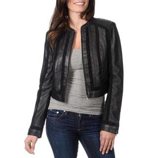 Whetblu Women's Black Novelty Fabric Mixed Leather Jacket