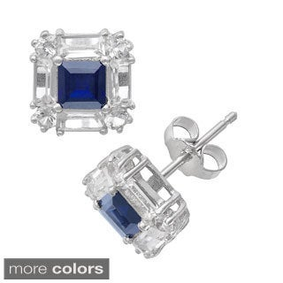 Gioelli Sterling Silver Created Gemstones Stud Earrings