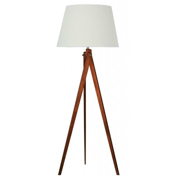 Designer Wood Tripod Floor Lamp With Brushed Nickel Accents