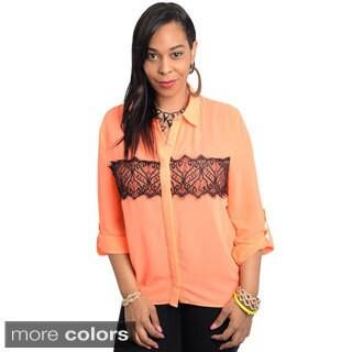 Stanzino Women's Plus Size Lace Detailed Button Down Shirt