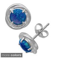 Gioelli Sterling Silver 6mm Created Gemstone Swirl Earrings