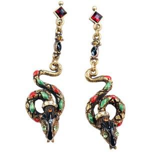 Sweet Romance Vintage Snake Serpent Enamel Earrings