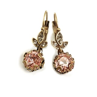 Sweet Romance Cushion Cut Antique Crystal Earrings (Option: Brown - Pink)
