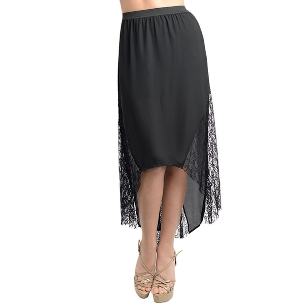 55a956238 Shop Stanzino Women's Black Chiffon Banded Waist High-low Skirt ...
