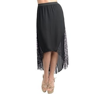 Stanzino Women's Black Chiffon Banded Waist High-low Skirt