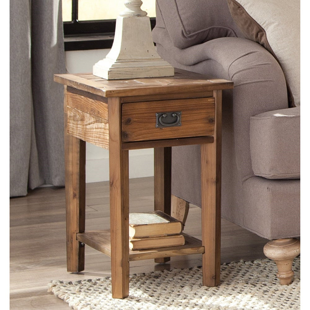 Shop Pine Canopy Redwood Reclaimed Wood Side Table Free Shipping - Redwood side table