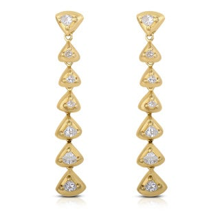 Eloquence 18k Yellow Gold 1 1/5ct TDW Diamond Geometric Triangle Linear Dangle Earrings (H-I, VS1-VS2)