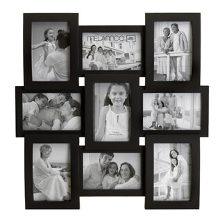 Melannco Flat and Curved Glass 9-opening Black Collage Photo Frame