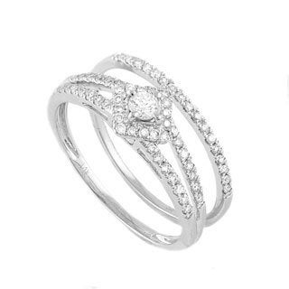 Beverly Hills Charm 14k White Gold 2/5ct TDW Halo Bridal Ring Set
