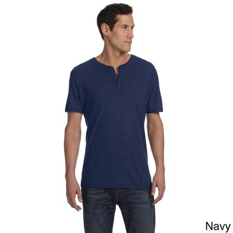 Bella Men's Triblend Short Sleeve Henley Shirt