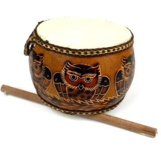 Handmade Owl's Nest Gourd Drum (Peru)