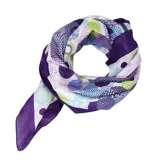 Handmade Hand-printed Purple Circlet Scarf (India)