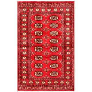 Herat Oriental Pakistani Hand-knotted Bokhara Red/ Ivory Wool Rug (3'1 x 4'10)
