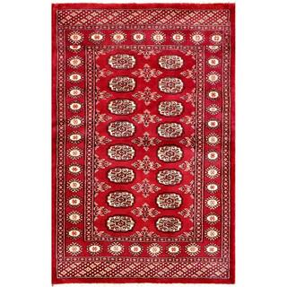 Herat Oriental Pakistani Hand-knotted Bokhara Red/ Ivory Wool Rug (3'1 x 4'9)