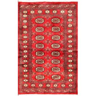 Herat Oriental Pakistani Hand-knotted Bokhara Red/ Ivory Wool Rug (3'4 x 4'8)