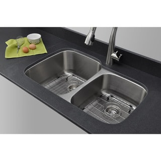 Wells Sinkware 32-inch Undermount 60/40 Double Bow 16-gauge Stainless Steel Kitchen Sink