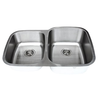 Link to Wells Sinkware Craftsmen Series 32-inch 16-gauge Undermount 40-60 Double Bowl Stainless Steel Kitchen Sink Similar Items in Sinks