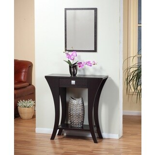 Cappuccino-finish Sofa Entry Console Table with Drawer