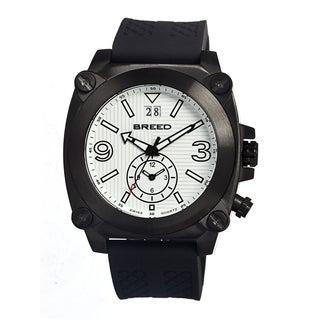 Breed Men's Vin White Silicone Black Analog Watch