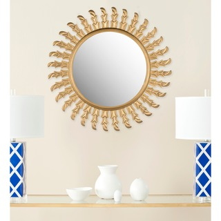"Safavieh Handmade Inca Gold Sunburst 32-inch Decorative Mirror - 32"" x 32"" x 0.8"""