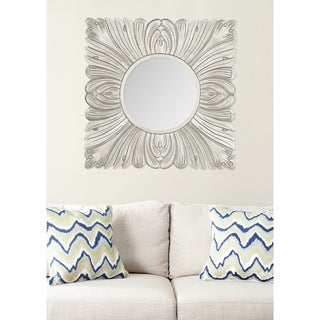 "Safavieh Handmade Art Acanthus Pewter 28-inch Square Decorative Mirror - 28"" x 28"" x 0.8"""