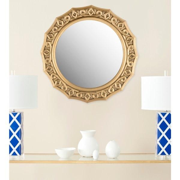 "Safavieh Gossamer Lace Gold 25-inch Round Decorative Mirror - 25"" x 25"" x 0.8"". Opens flyout."