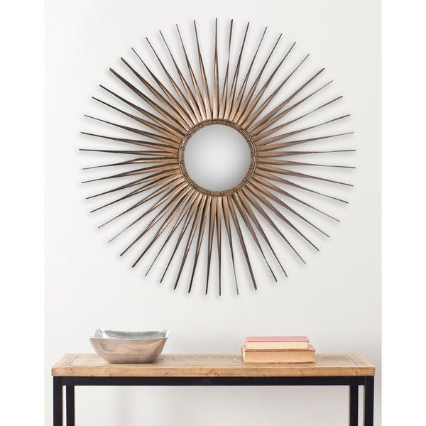 "SAFAVIEH Shanira Gold Nailhead Sunburst 34-inch Decorative Mirror - 33.5"" x 33.5"" x 1"". Opens flyout."