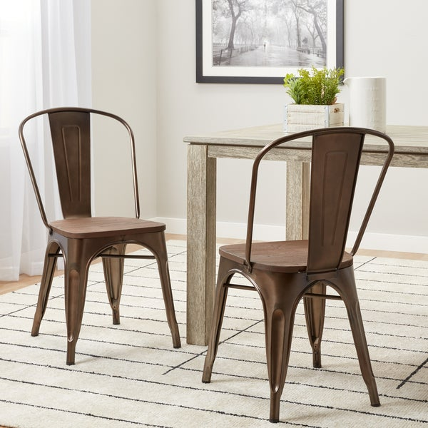 Shop Tabouret Vintage Wood Seat Bistro Chairs Set Of 2 Free